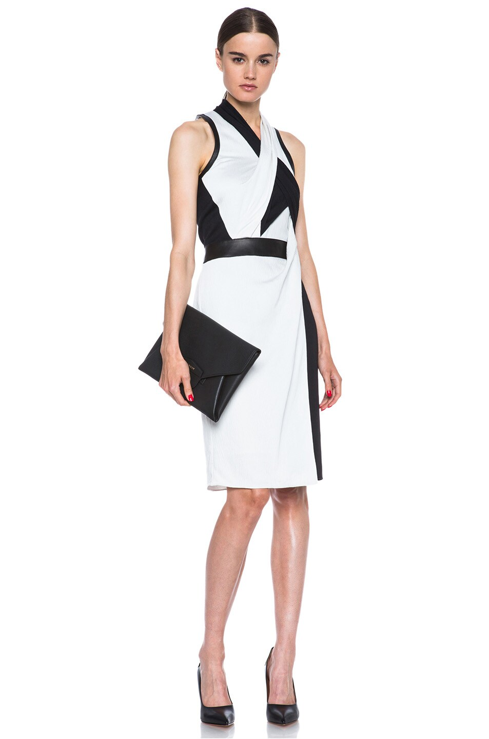 Image 5 of Helmut Lang Grained Viscose Twisted Drape Dress in Pearl
