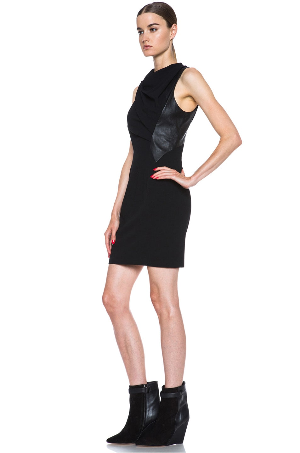 Image 2 of Helmut Lang Sphere Viscose Wool Dress in Black