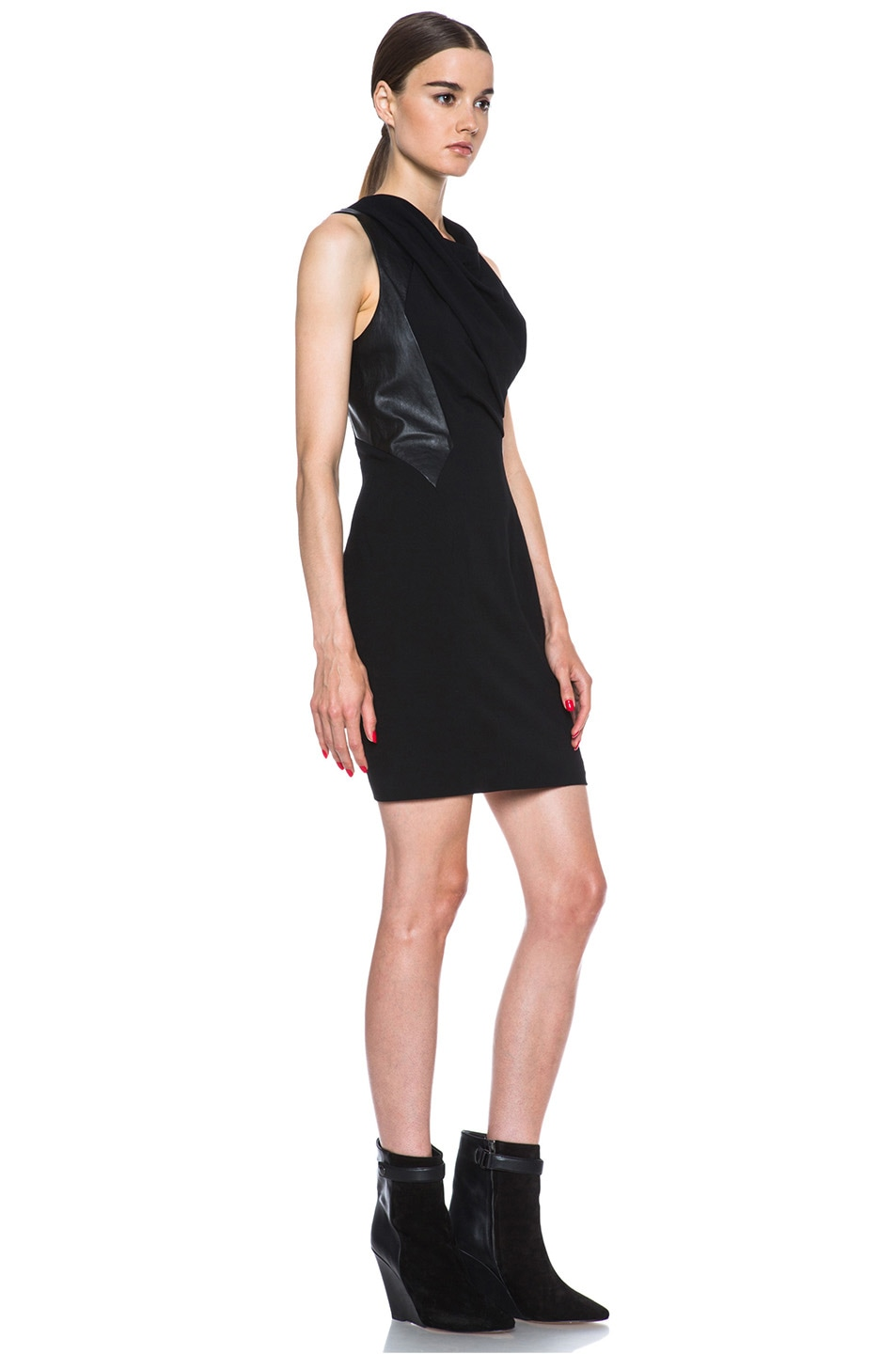 Image 3 of Helmut Lang Sphere Viscose Wool Dress in Black