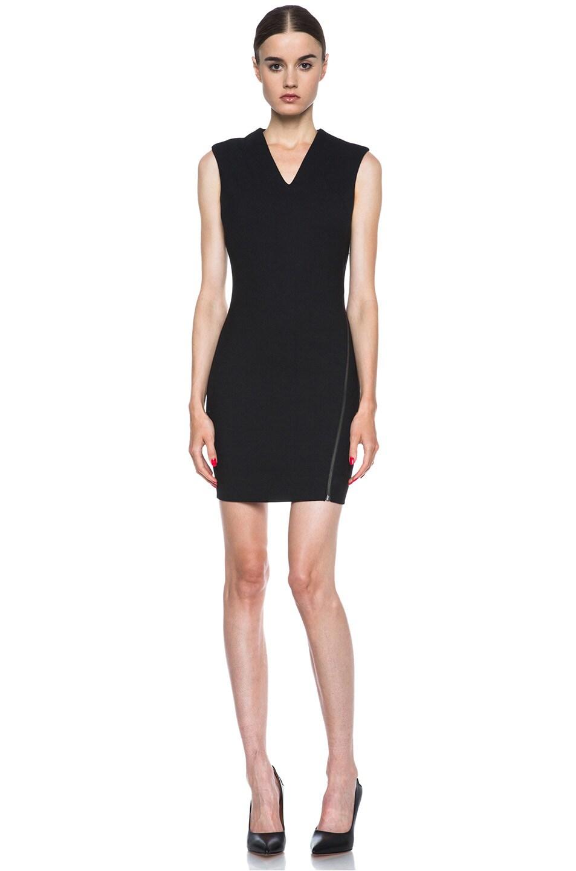 Image 1 of HELMUT Moto Stretch Angle Zipper Poly-Blend Dress in Black