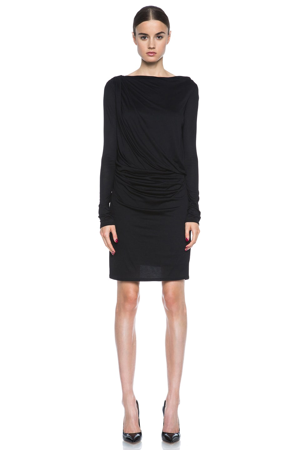 Image 1 of HELMUT Crossover Drape Viscose Dress in Black