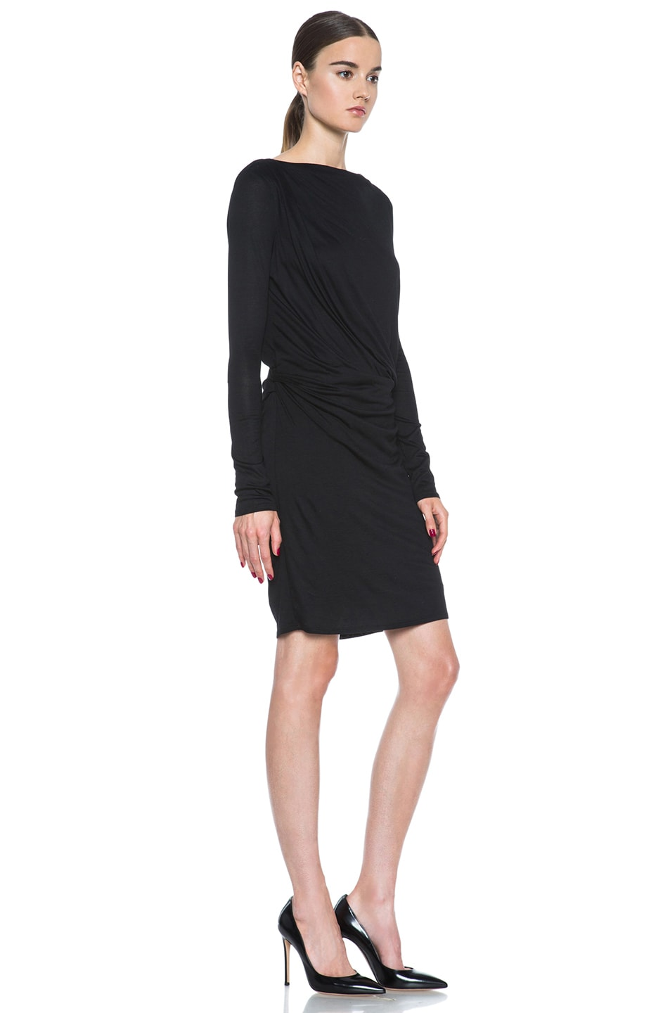 Image 3 of HELMUT Crossover Drape Viscose Dress in Black