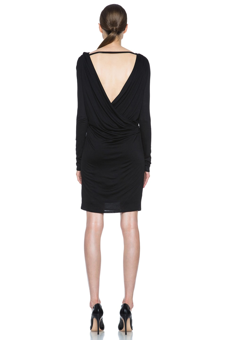 Image 4 of HELMUT Crossover Drape Viscose Dress in Black