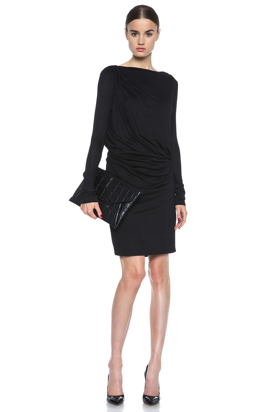 Image 5 of HELMUT Crossover Drape Viscose Dress in Black