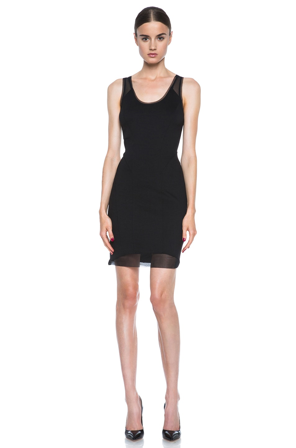 Image 1 of HELMUT Cadet Pointe Mesh Insert Viscose-Blend Dress in Black