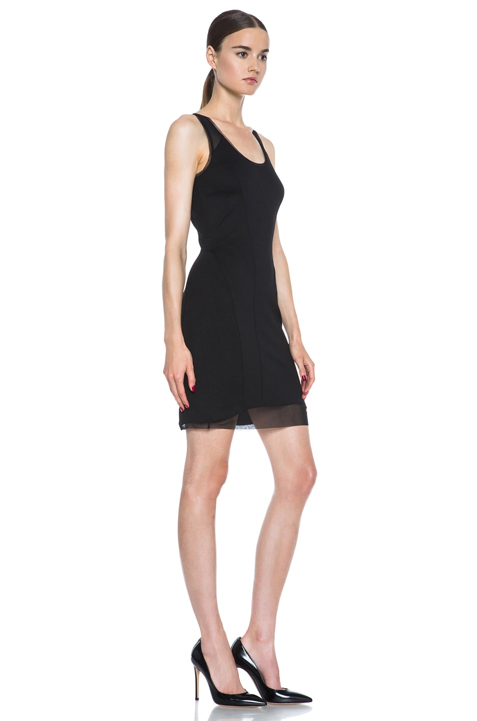 Image 3 of HELMUT Cadet Pointe Mesh Insert Viscose-Blend Dress in Black
