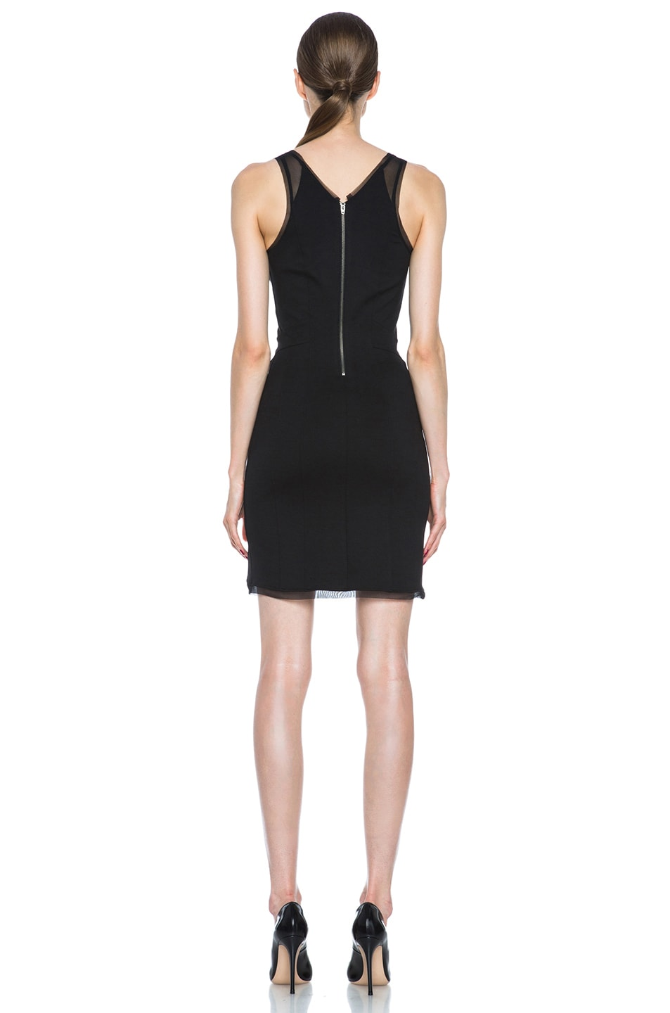 Image 4 of HELMUT Cadet Pointe Mesh Insert Viscose-Blend Dress in Black