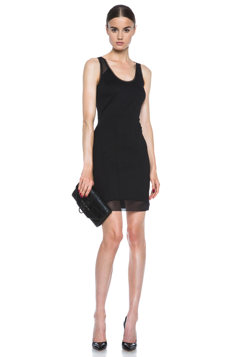 Image 5 of HELMUT Cadet Pointe Mesh Insert Viscose-Blend Dress in Black