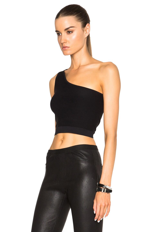 helmut lang one shoulder cropped stretch knit bra top. Black Bedroom Furniture Sets. Home Design Ideas
