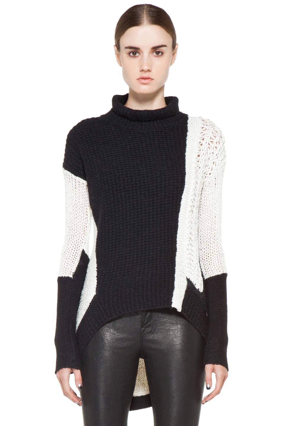 Image 1 of Helmut Lang Turtleneck Sweater in White & Black