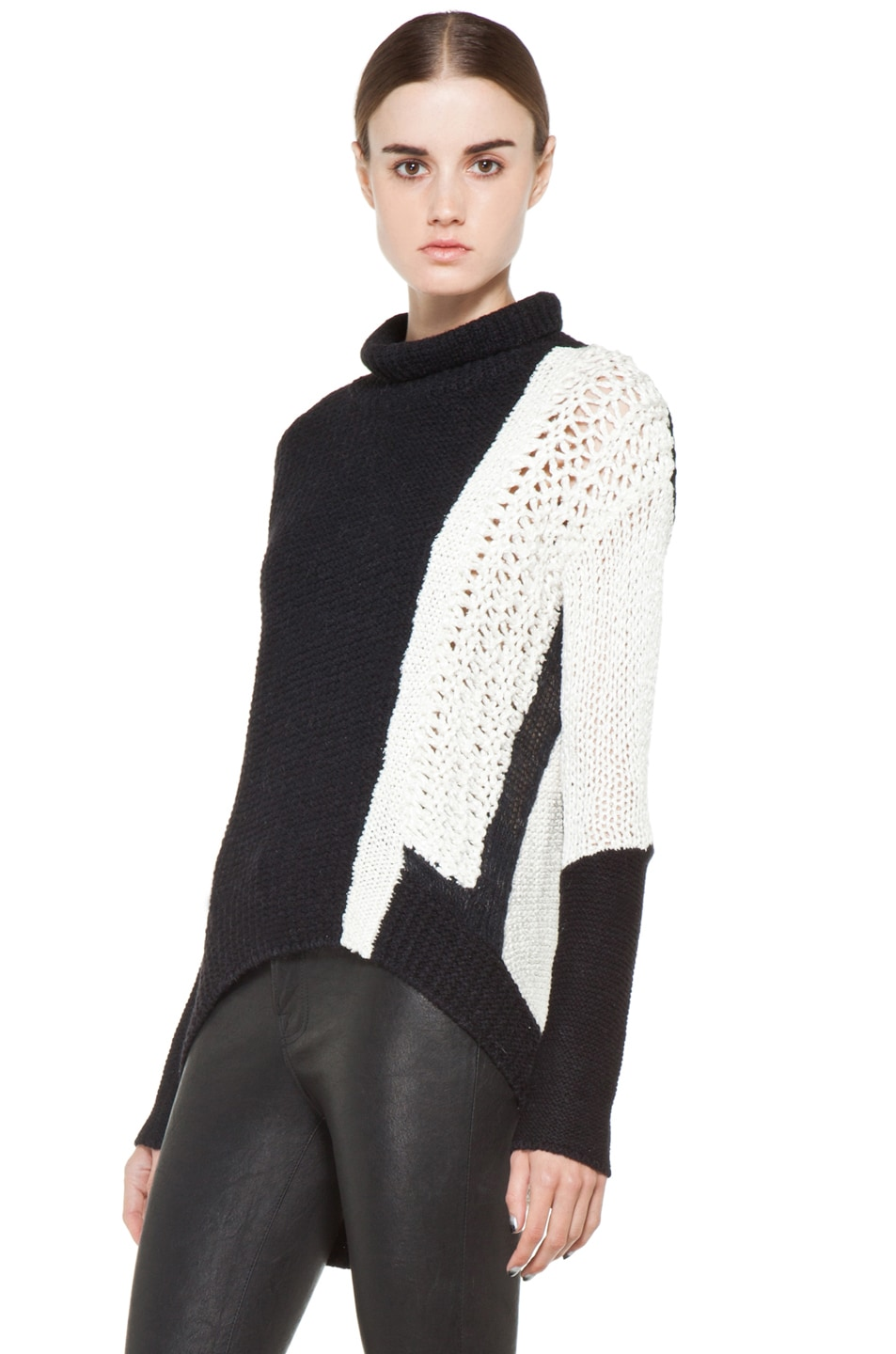 Image 2 of Helmut Lang Turtleneck Sweater in White & Black