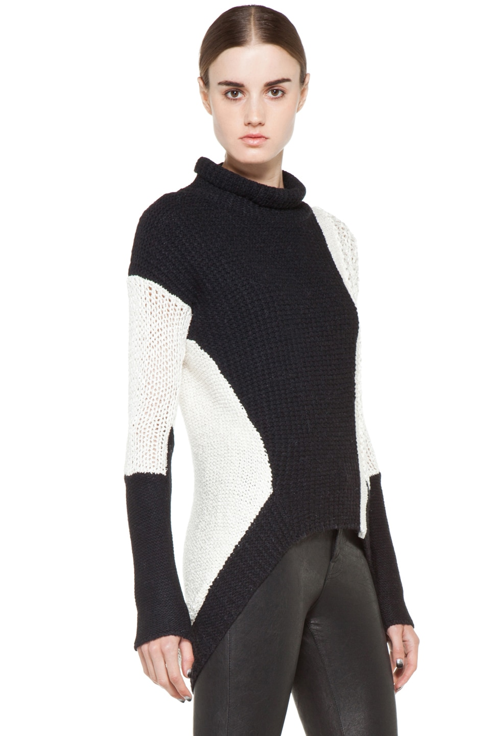 Image 3 of Helmut Lang Turtleneck Sweater in White & Black