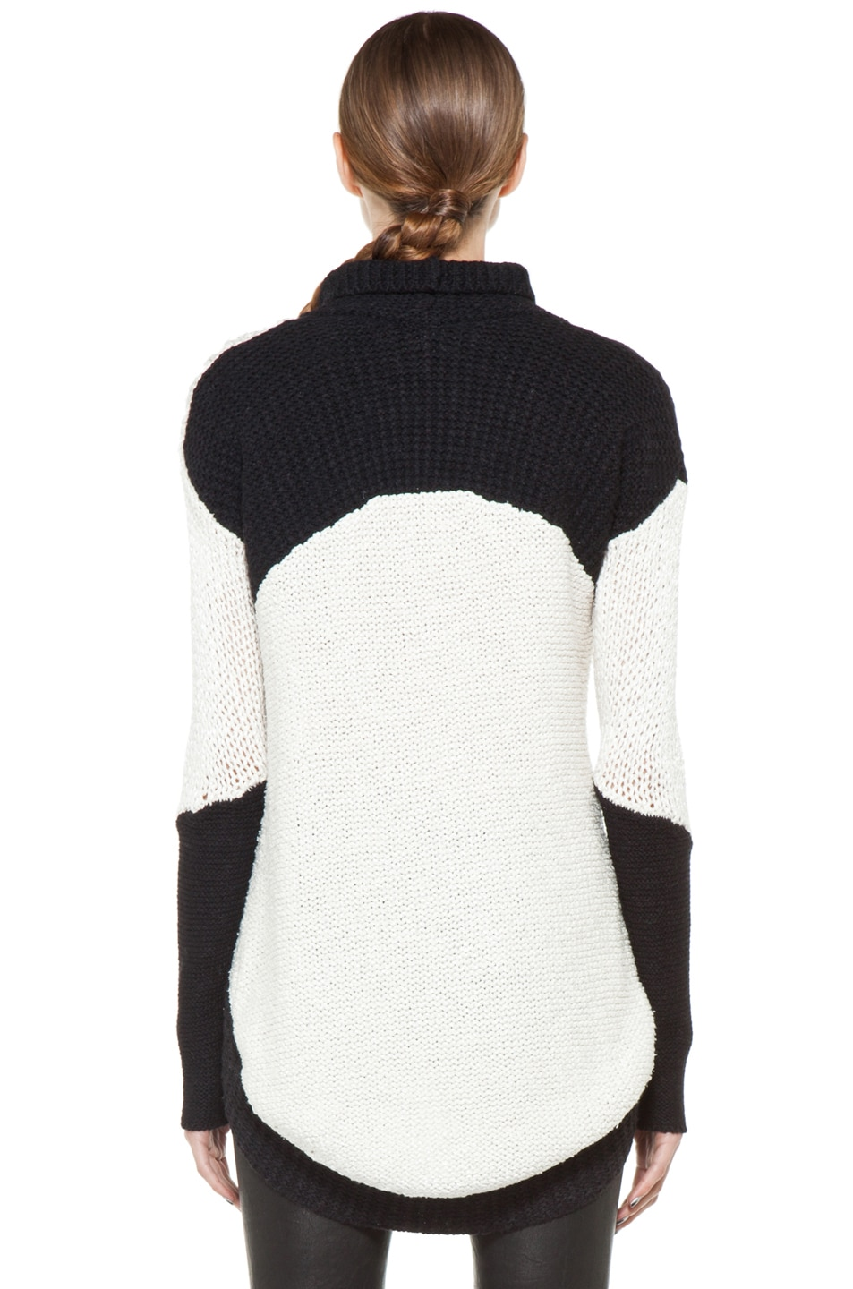 Image 4 of Helmut Lang Turtleneck Sweater in White & Black