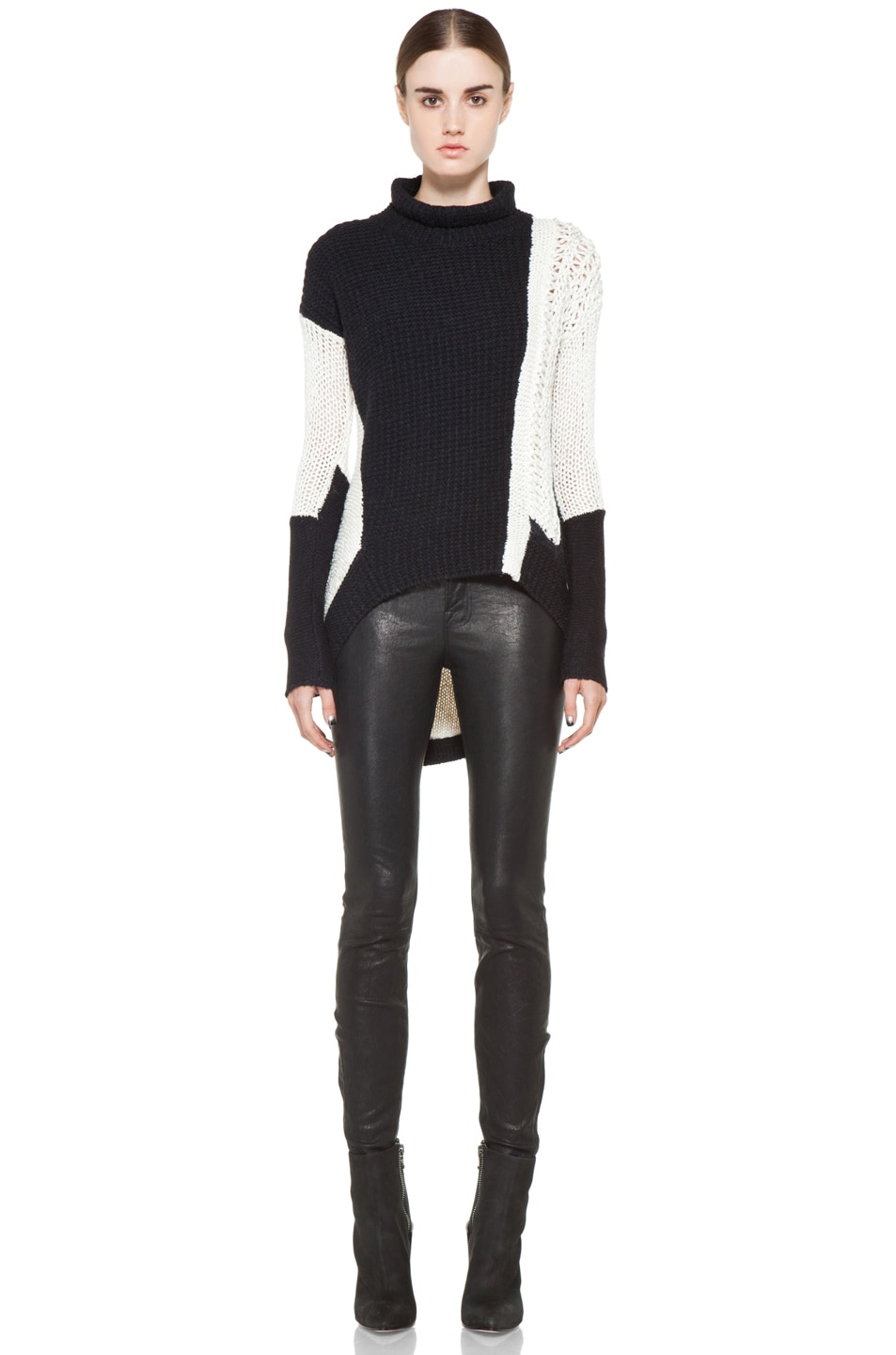 Image 5 of Helmut Lang Turtleneck Sweater in White & Black