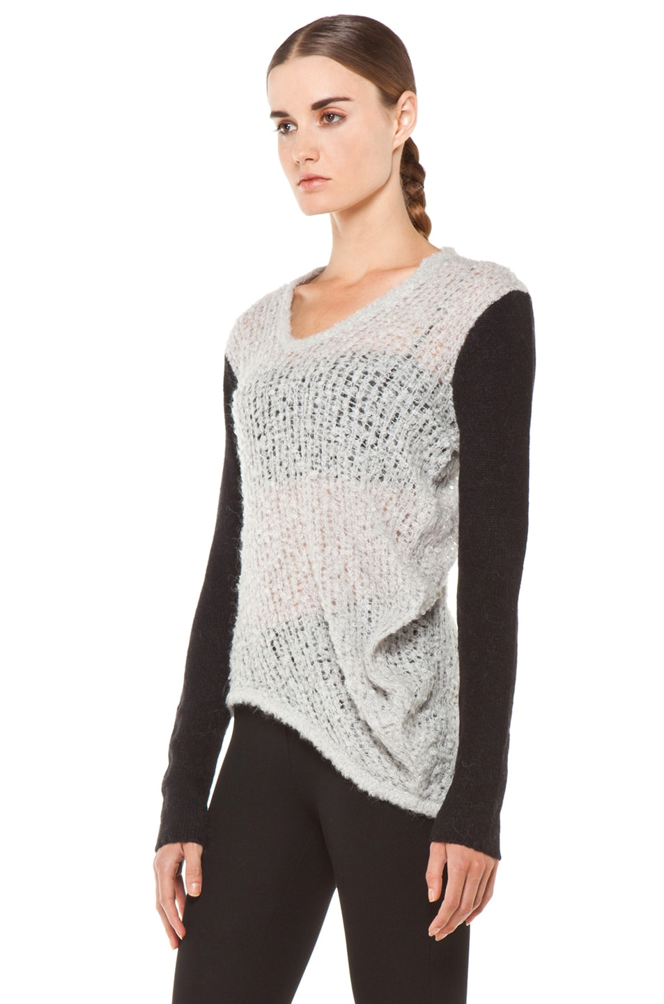 Image 2 of Helmut Lang Plaited Boucle Cowl Sweater in Putty