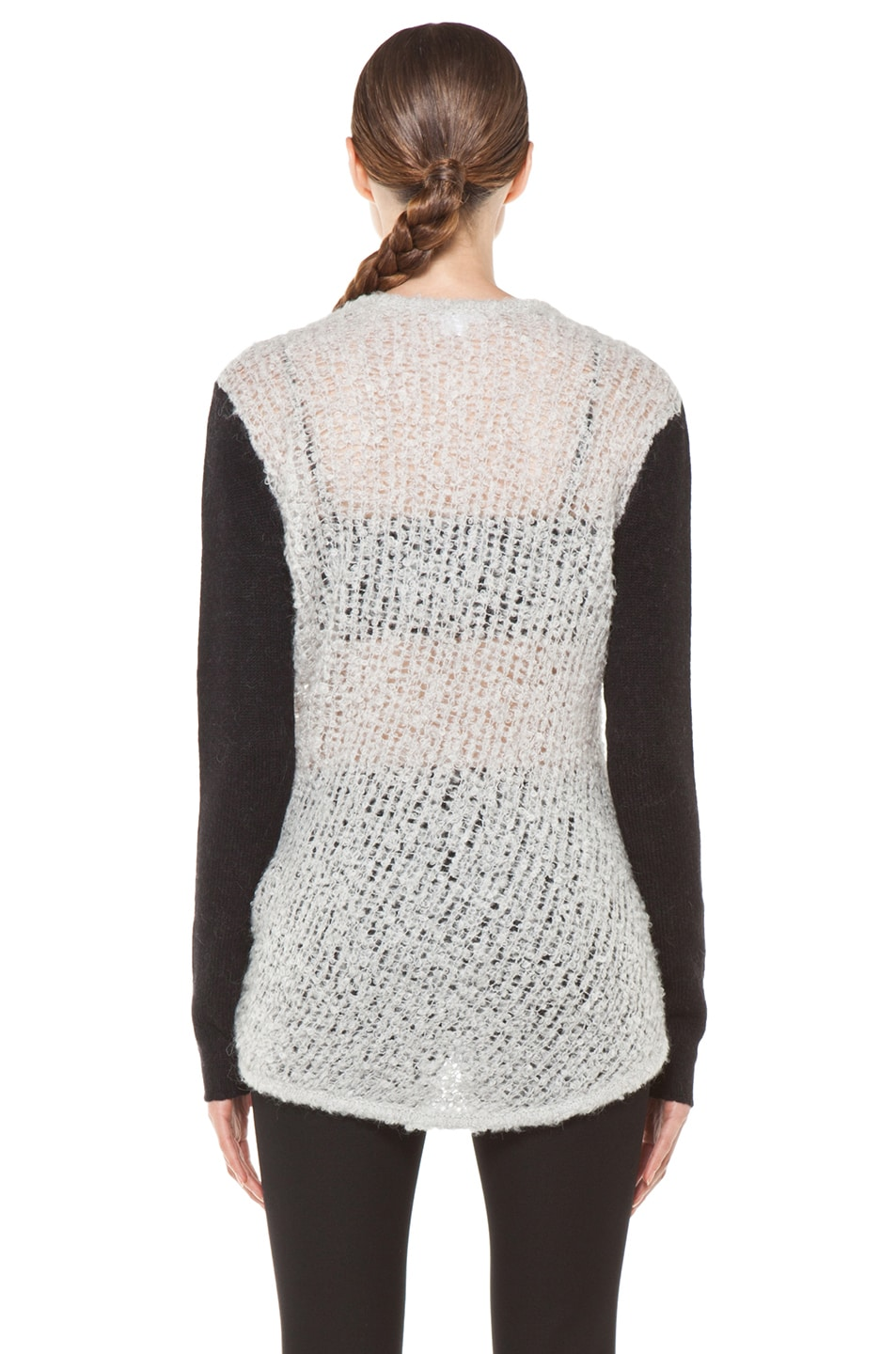 Image 4 of Helmut Lang Plaited Boucle Cowl Sweater in Putty