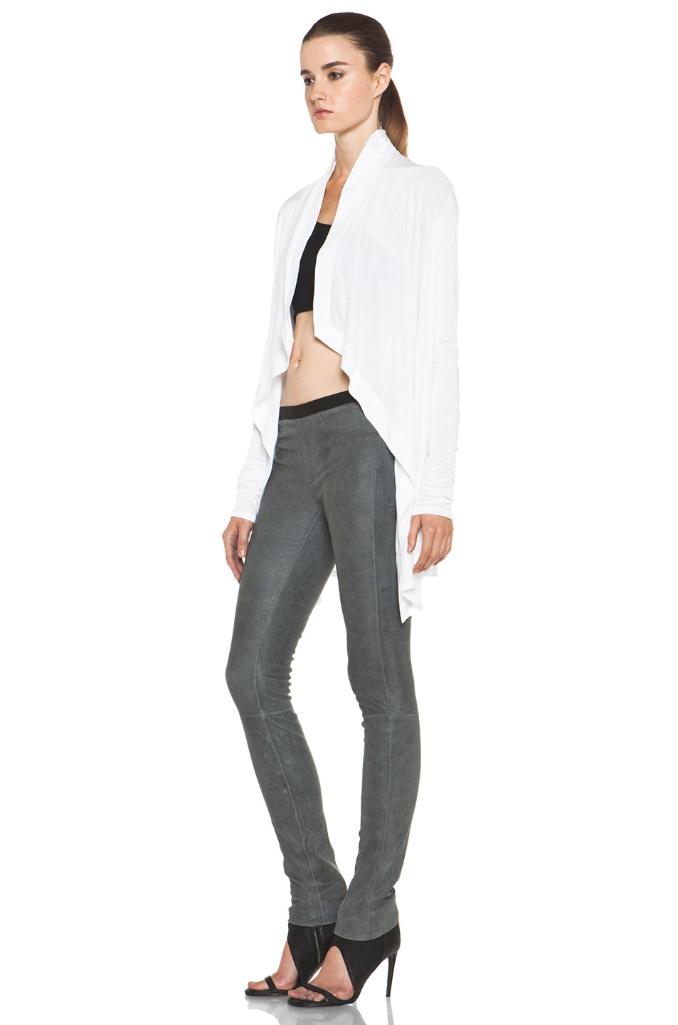 Image 2 of HELMUT Kinetic Jersey Drape Front Cardigan in Optic White