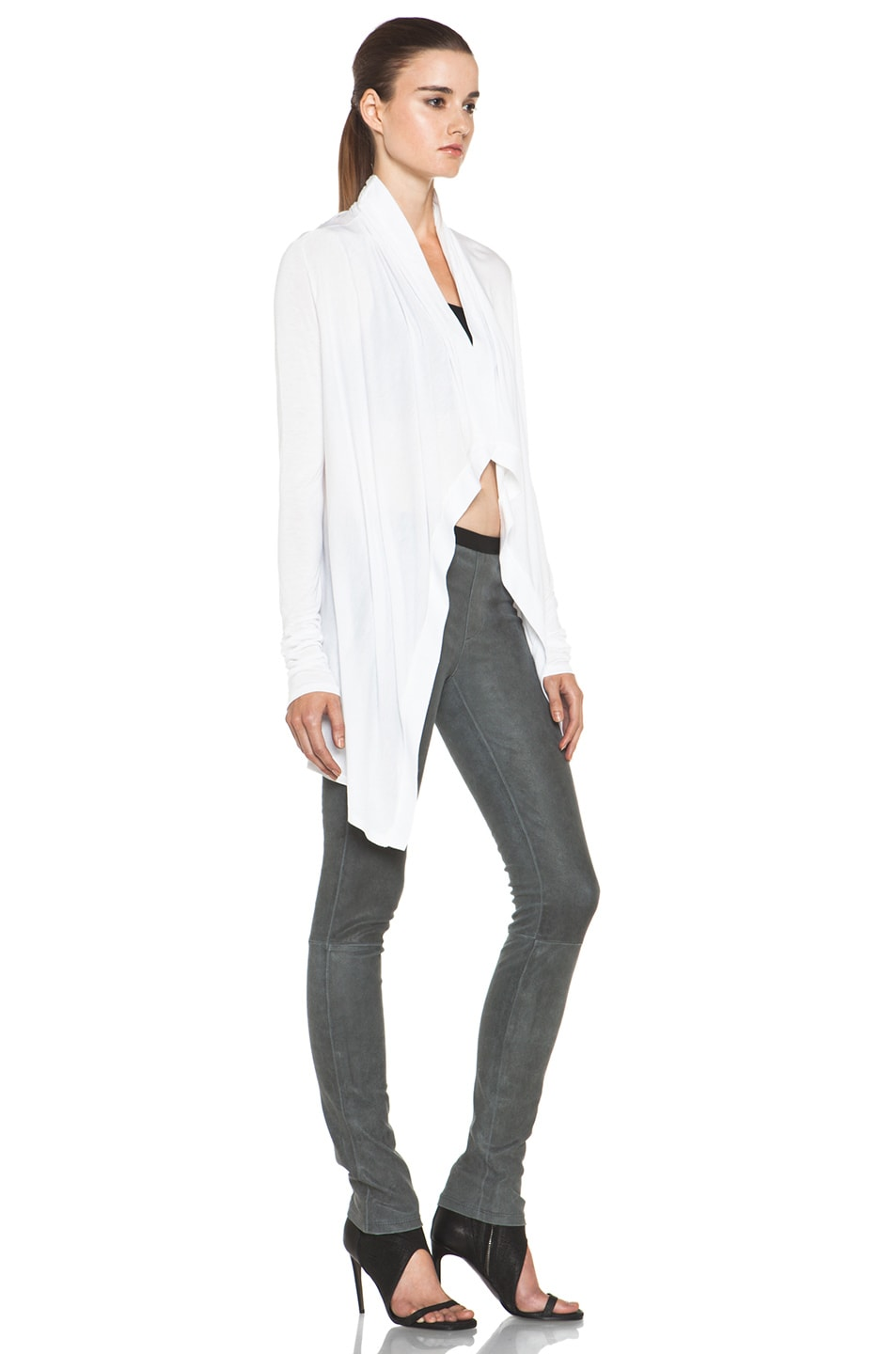 Image 3 of HELMUT Kinetic Jersey Drape Front Cardigan in Optic White