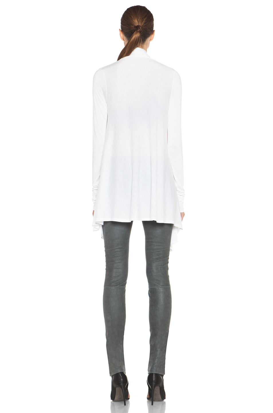 Image 4 of HELMUT Kinetic Jersey Drape Front Cardigan in Optic White