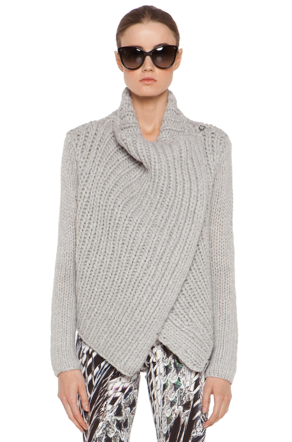 Image 2 of Helmut Lang Augmented Wool Shawl Cardigan in Grey