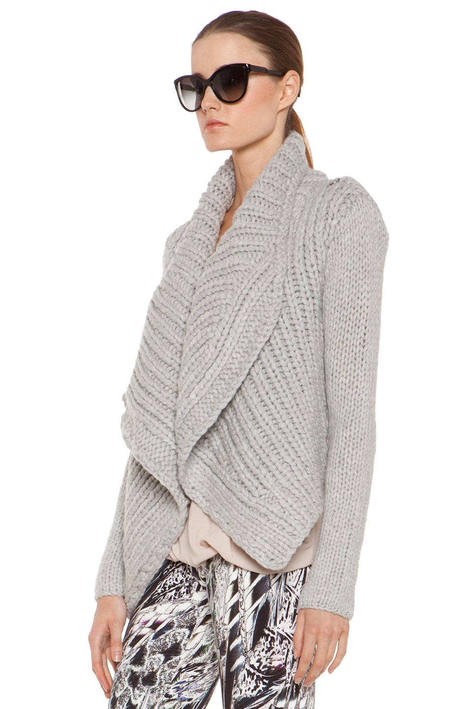 Image 3 of Helmut Lang Augmented Wool Shawl Cardigan in Grey