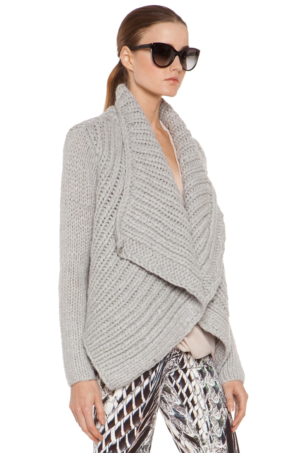 Image 4 of Helmut Lang Augmented Wool Shawl Cardigan in Grey
