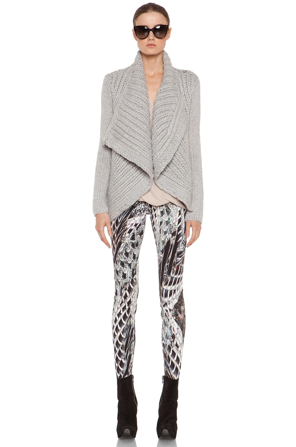 Image 6 of Helmut Lang Augmented Wool Shawl Cardigan in Grey