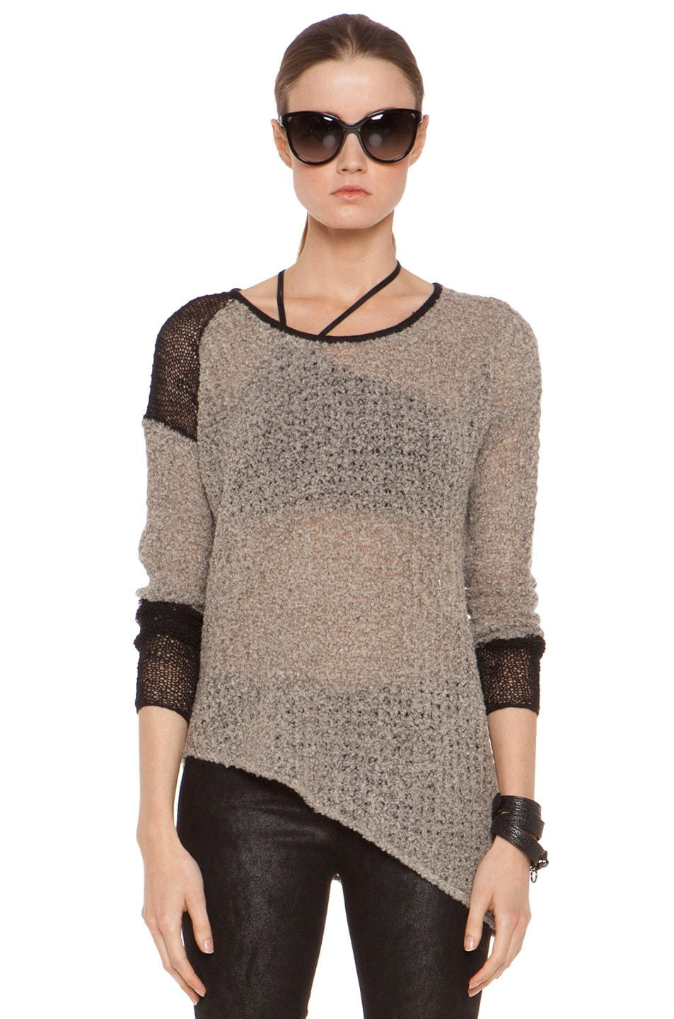 Image 1 of Helmut Lang Flecked Boucle Combo Pullover in Black & Beige