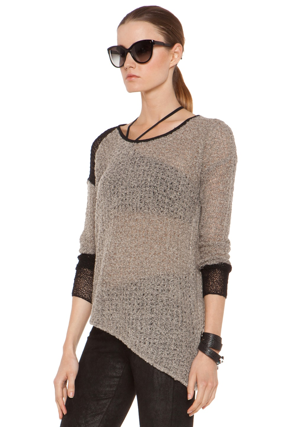 Image 2 of Helmut Lang Flecked Boucle Combo Pullover in Black & Beige