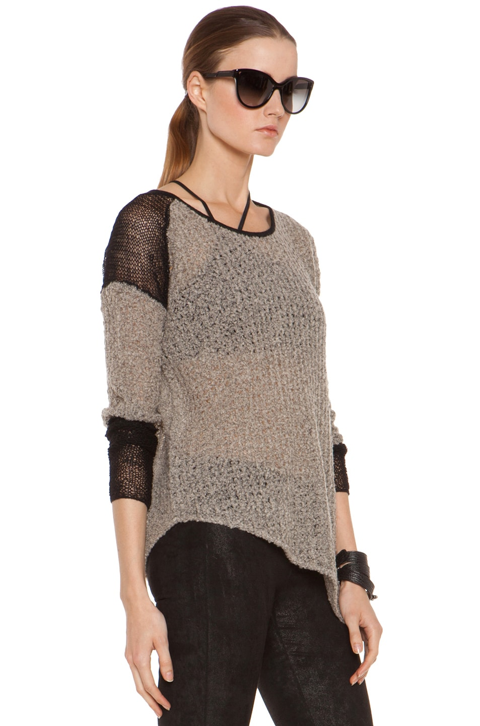 Image 3 of Helmut Lang Flecked Boucle Combo Pullover in Black & Beige