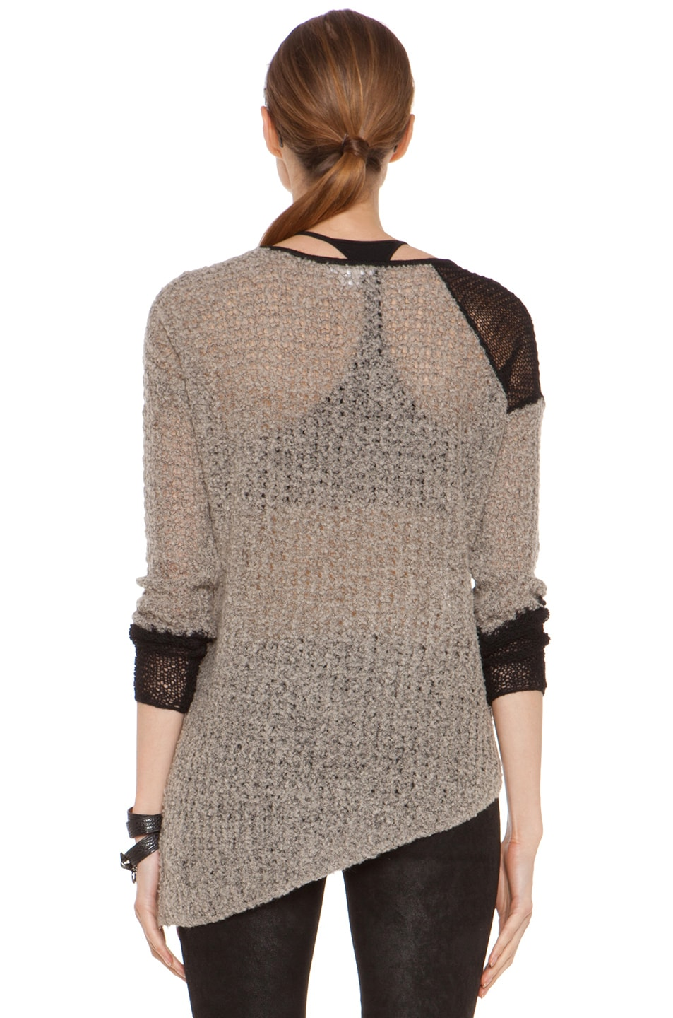 Image 4 of Helmut Lang Flecked Boucle Combo Pullover in Black & Beige