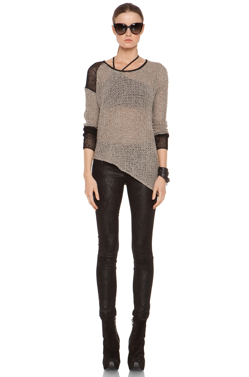 Image 5 of Helmut Lang Flecked Boucle Combo Pullover in Black & Beige