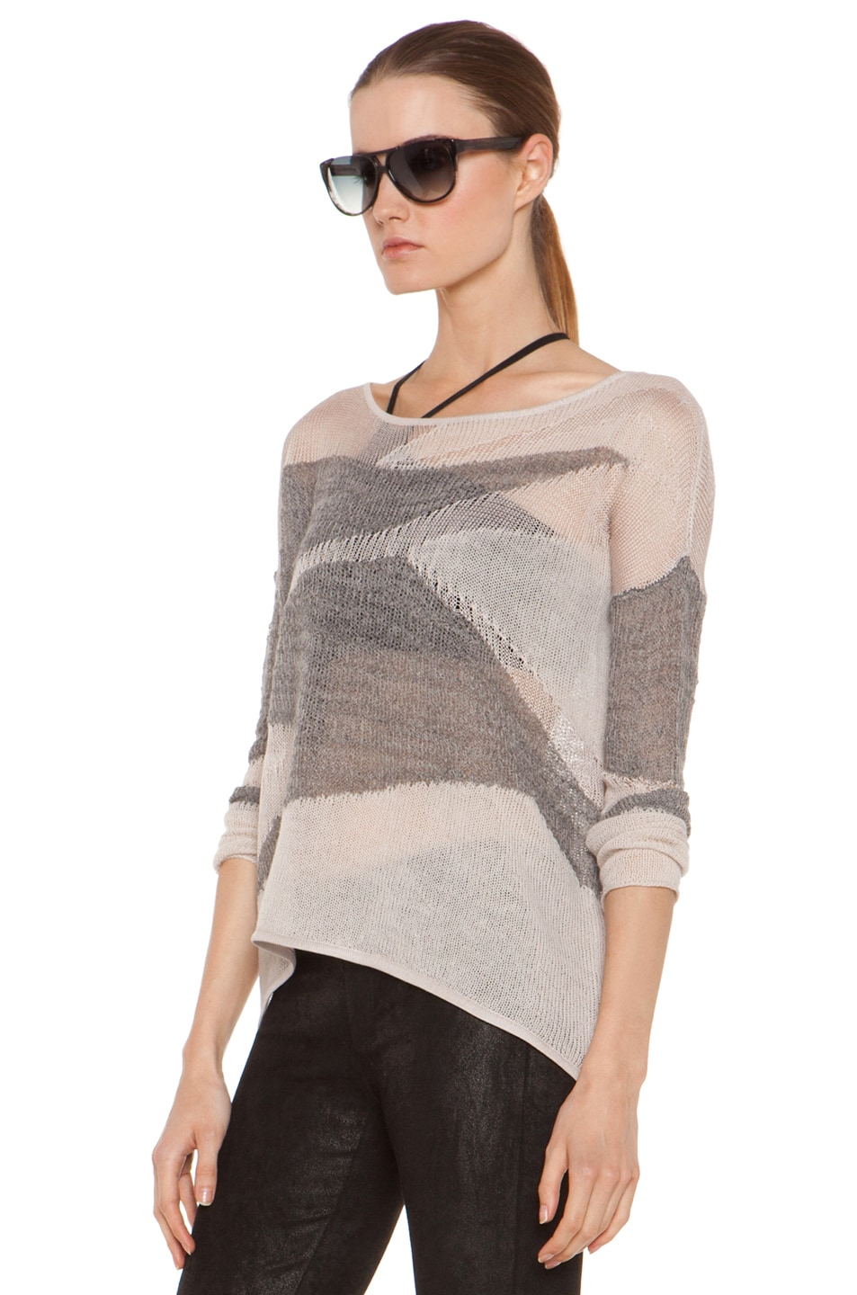 Image 2 of Helmut Lang Merging Texture Boxy Pullover Sweater in Nude