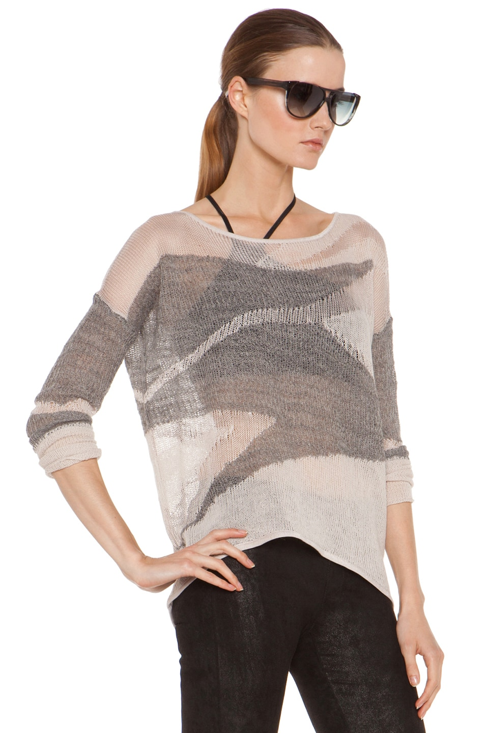 Image 3 of Helmut Lang Merging Texture Boxy Pullover Sweater in Nude