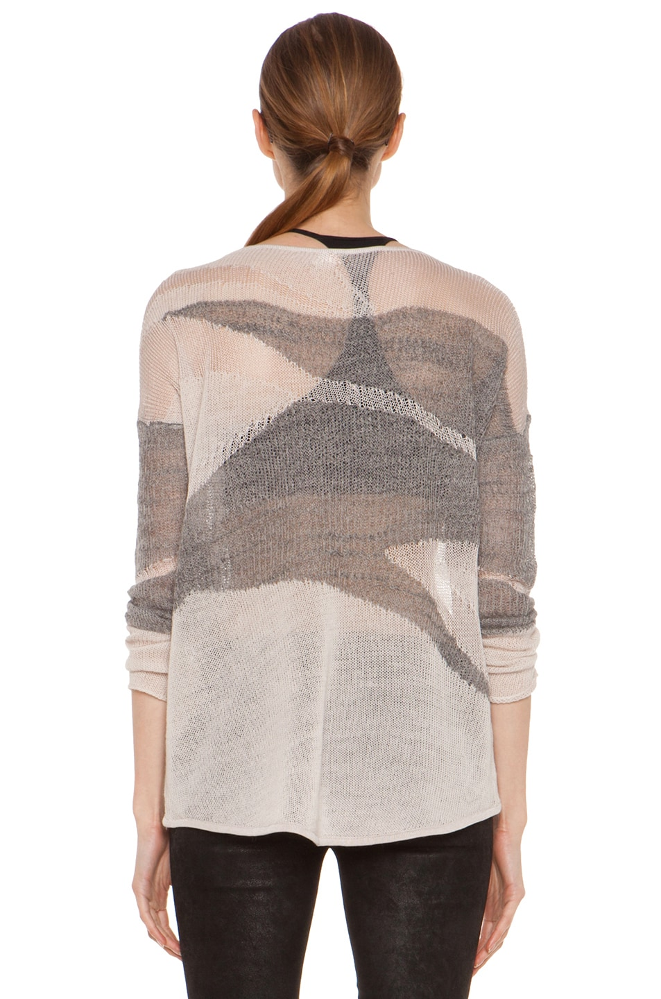 Image 4 of Helmut Lang Merging Texture Boxy Pullover Sweater in Nude