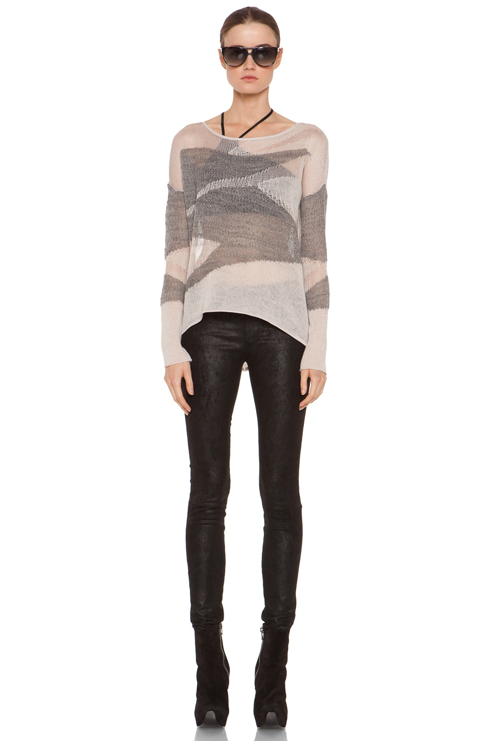 Image 5 of Helmut Lang Merging Texture Boxy Pullover Sweater in Nude