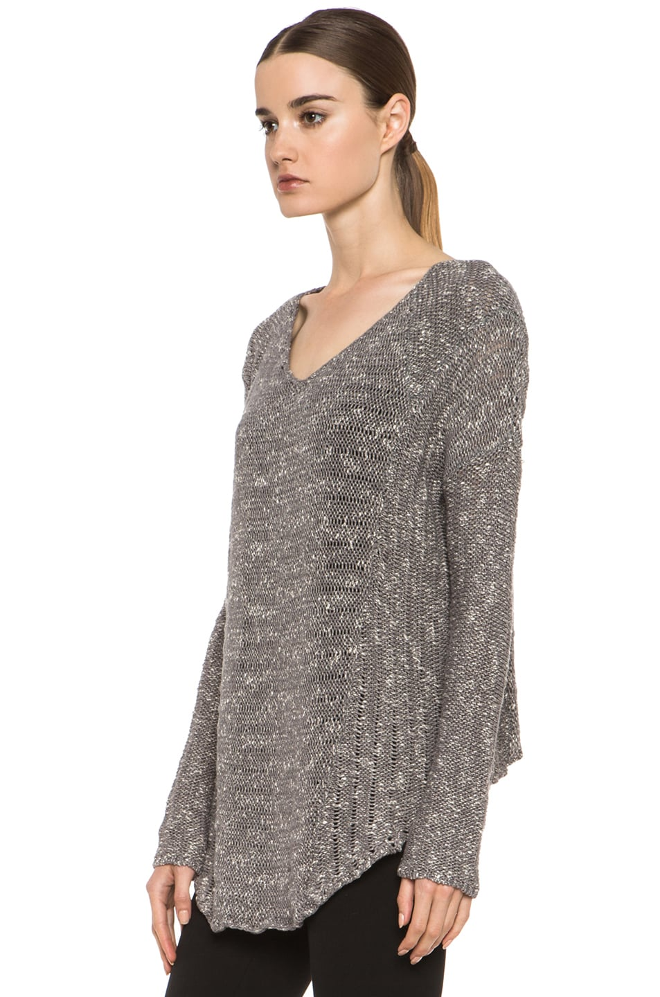 Image 2 of HELMUT Helmut Lang Caged Boucle Curved Hem Pullover in Silica