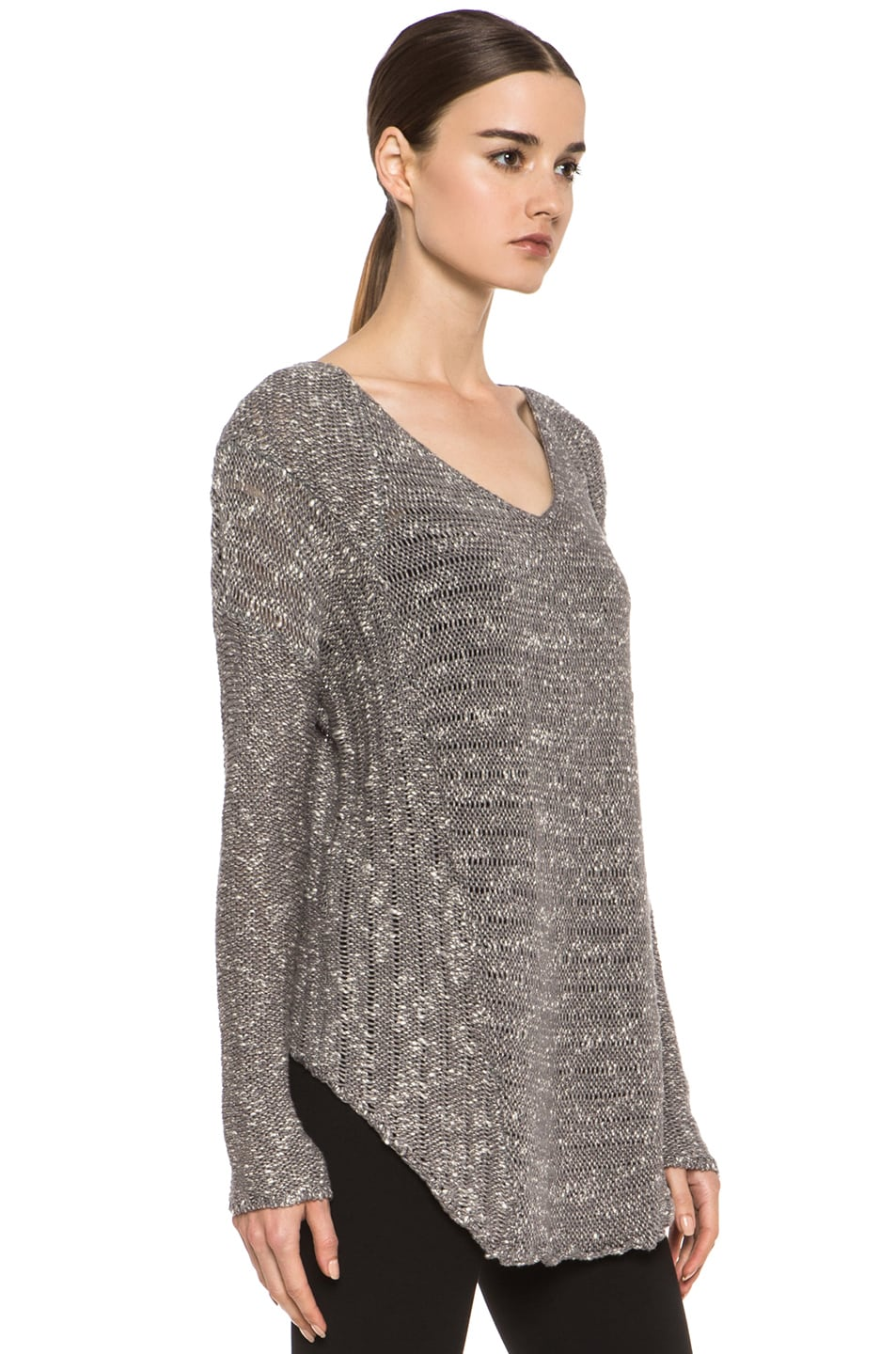Image 3 of HELMUT Helmut Lang Caged Boucle Curved Hem Pullover in Silica