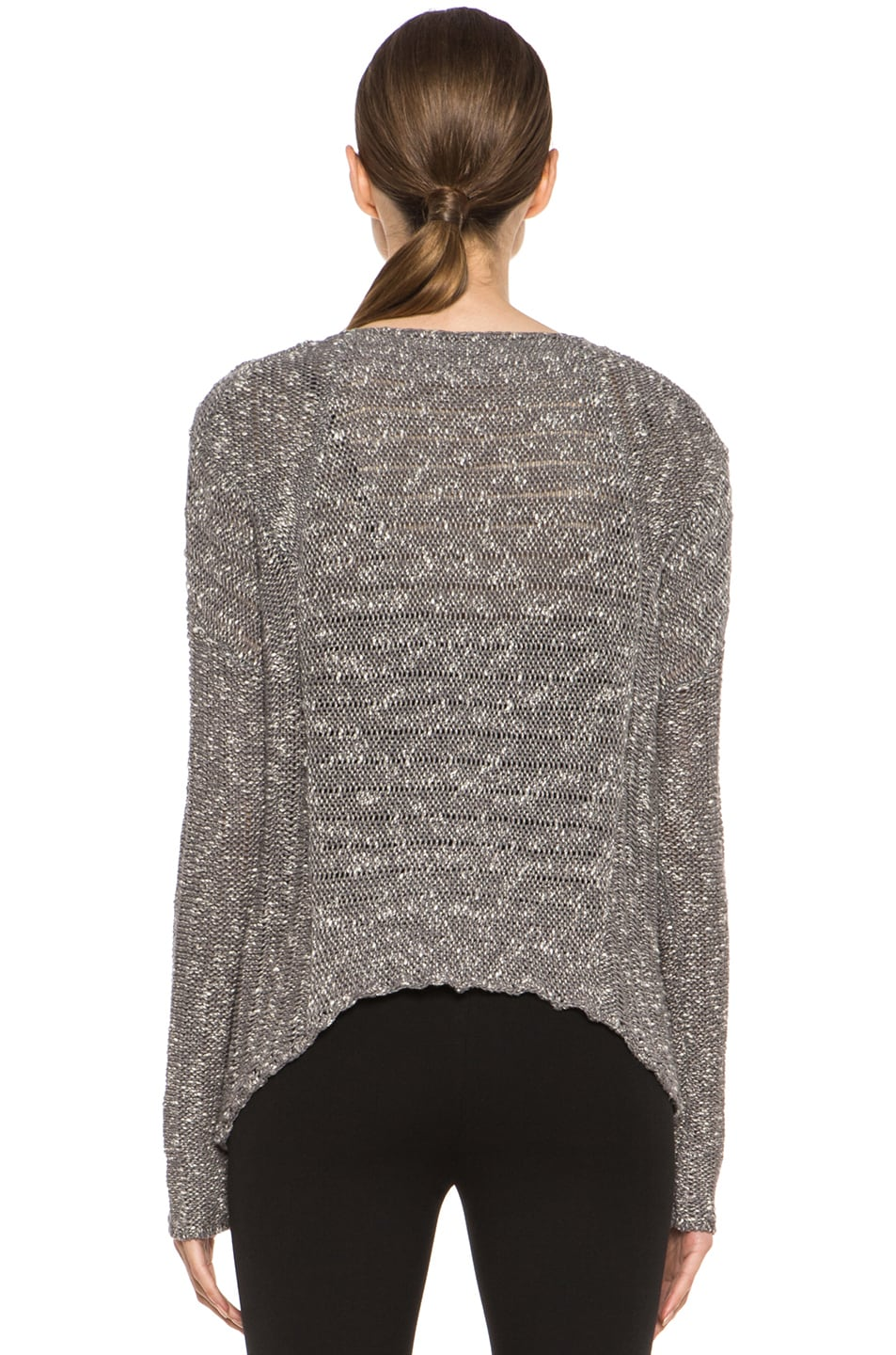 Image 4 of HELMUT Helmut Lang Caged Boucle Curved Hem Pullover in Silica