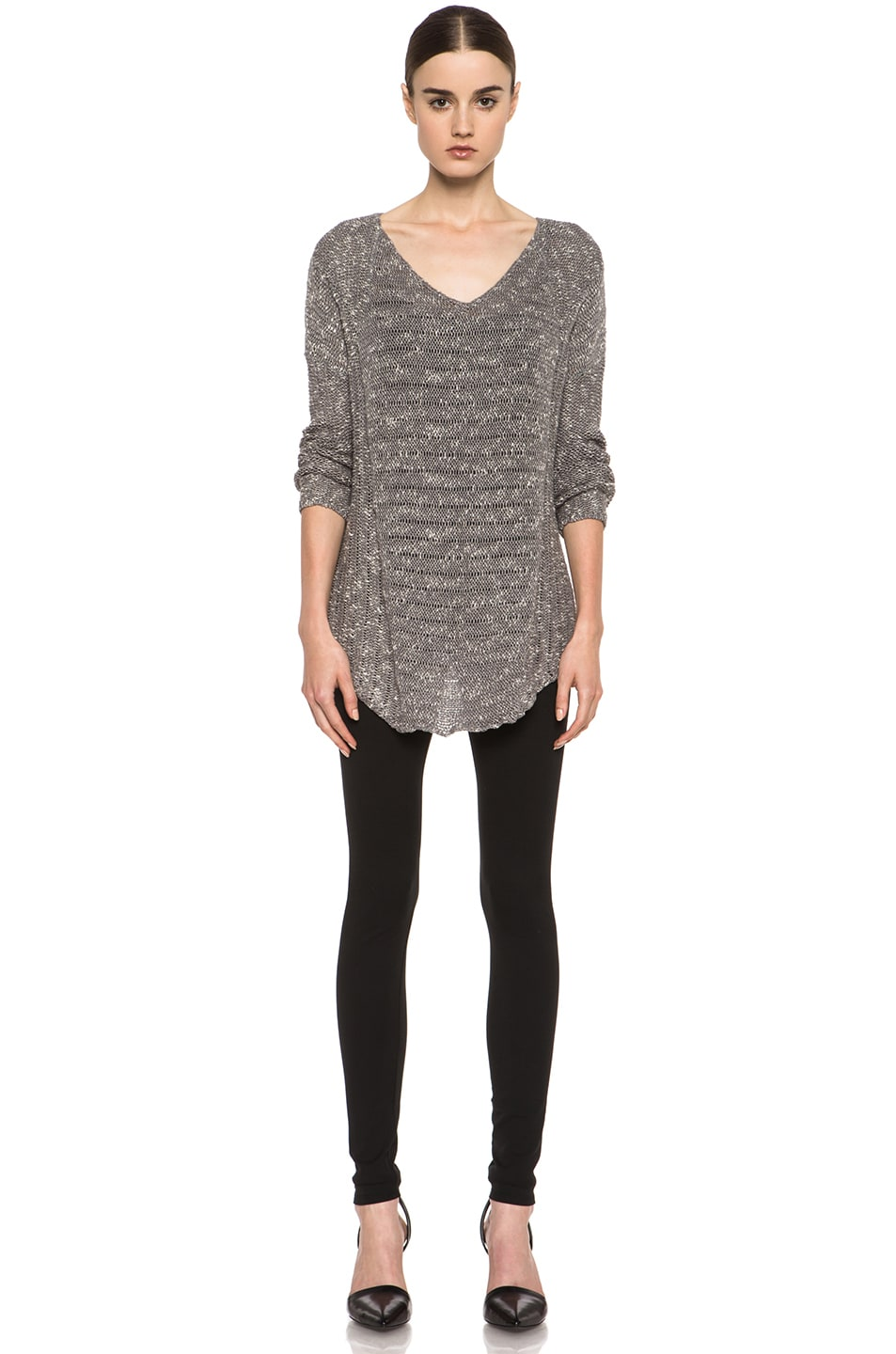 Image 5 of HELMUT Helmut Lang Caged Boucle Curved Hem Pullover in Silica