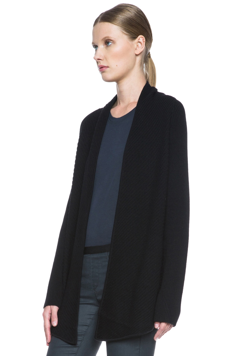 Image 2 of HELMUT Plush Wool-Blend Cardigan in Black