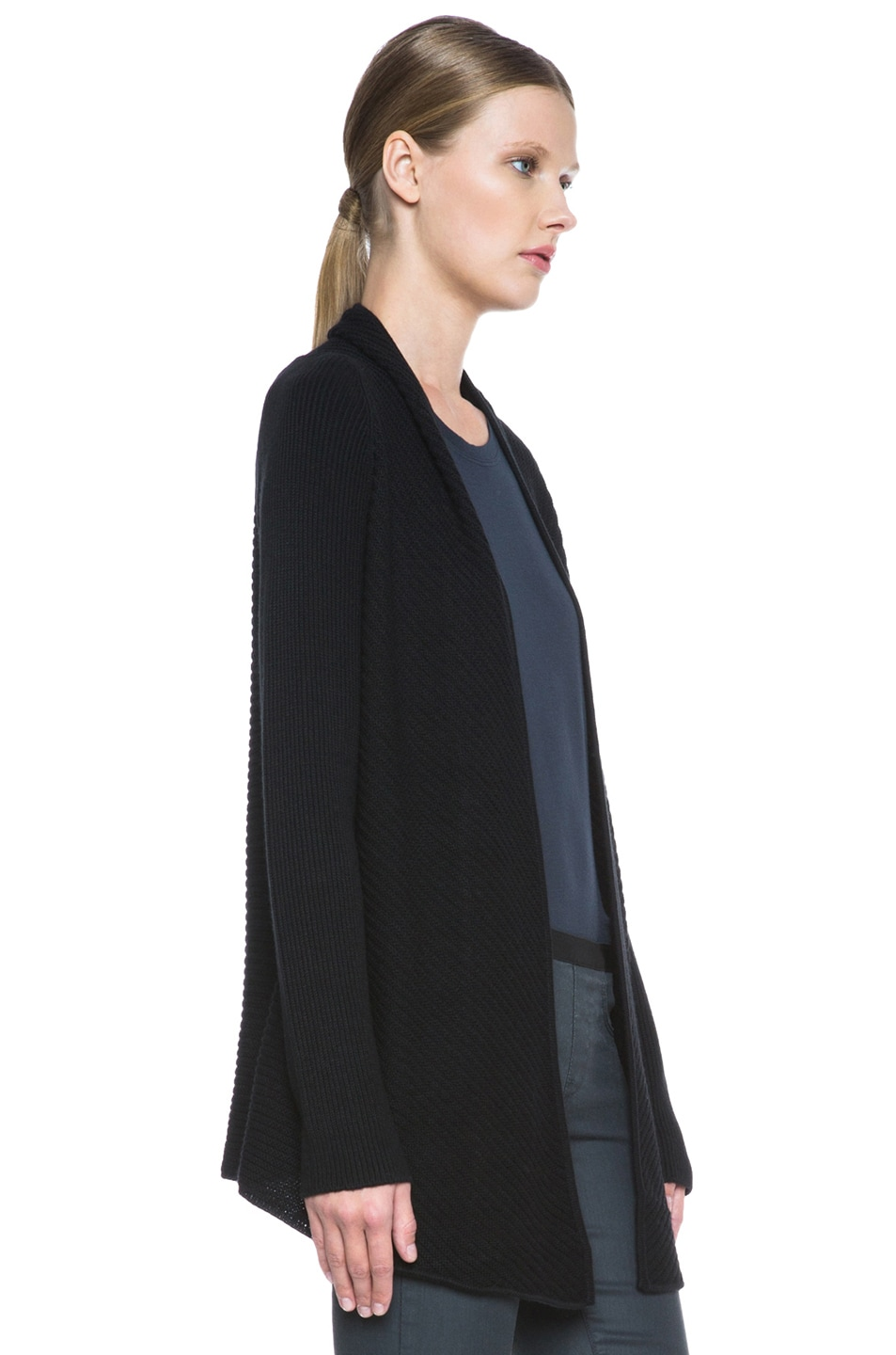 Image 3 of HELMUT Plush Wool-Blend Cardigan in Black