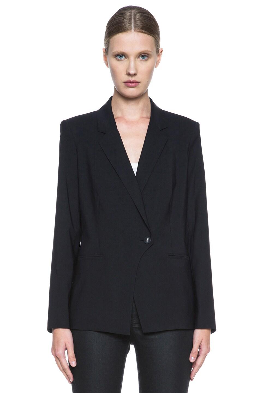 Image 2 of Helmut Lang Stretchy Wool Front Overlap Viscose Blazer in Black