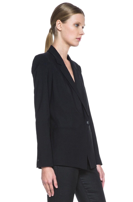 Image 4 of Helmut Lang Stretchy Wool Front Overlap Viscose Blazer in Black