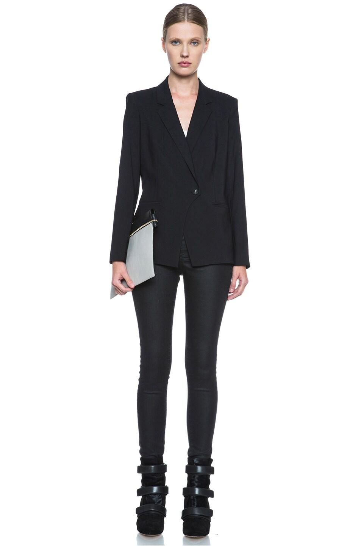 Image 6 of Helmut Lang Stretchy Wool Front Overlap Viscose Blazer in Black