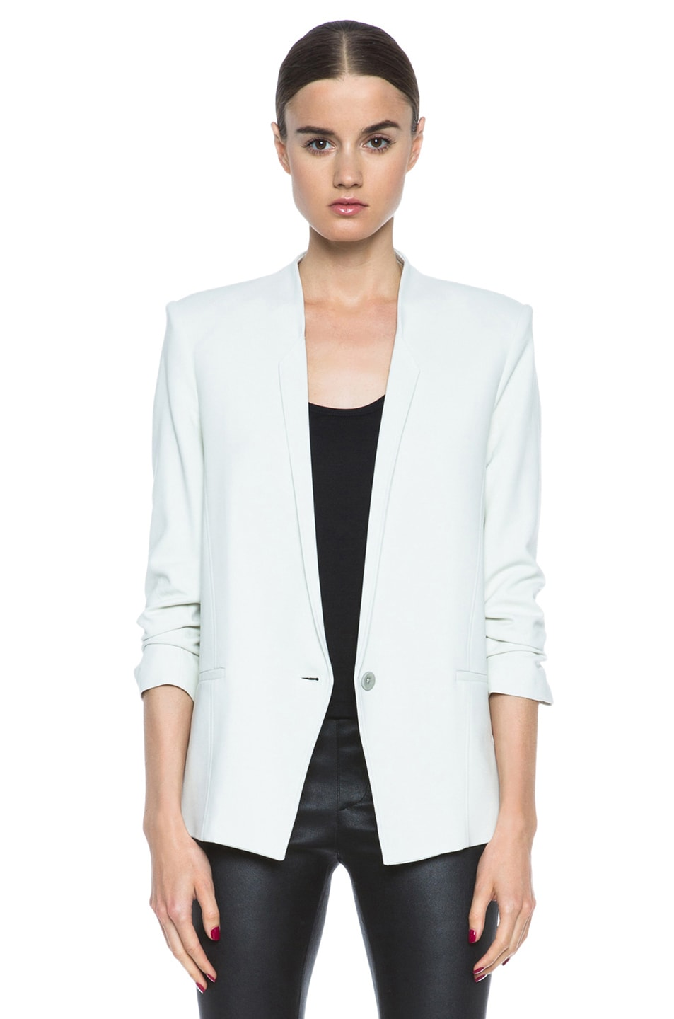 Image 1 of HELMUT Prime Suiting Scrunched Sleeve Viscose-Blend Blazer in Newsprint