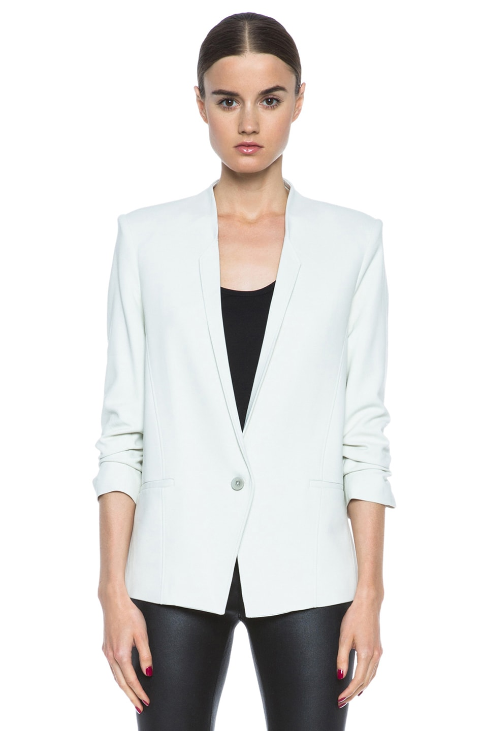 Image 2 of HELMUT Prime Suiting Scrunched Sleeve Viscose-Blend Blazer in Newsprint