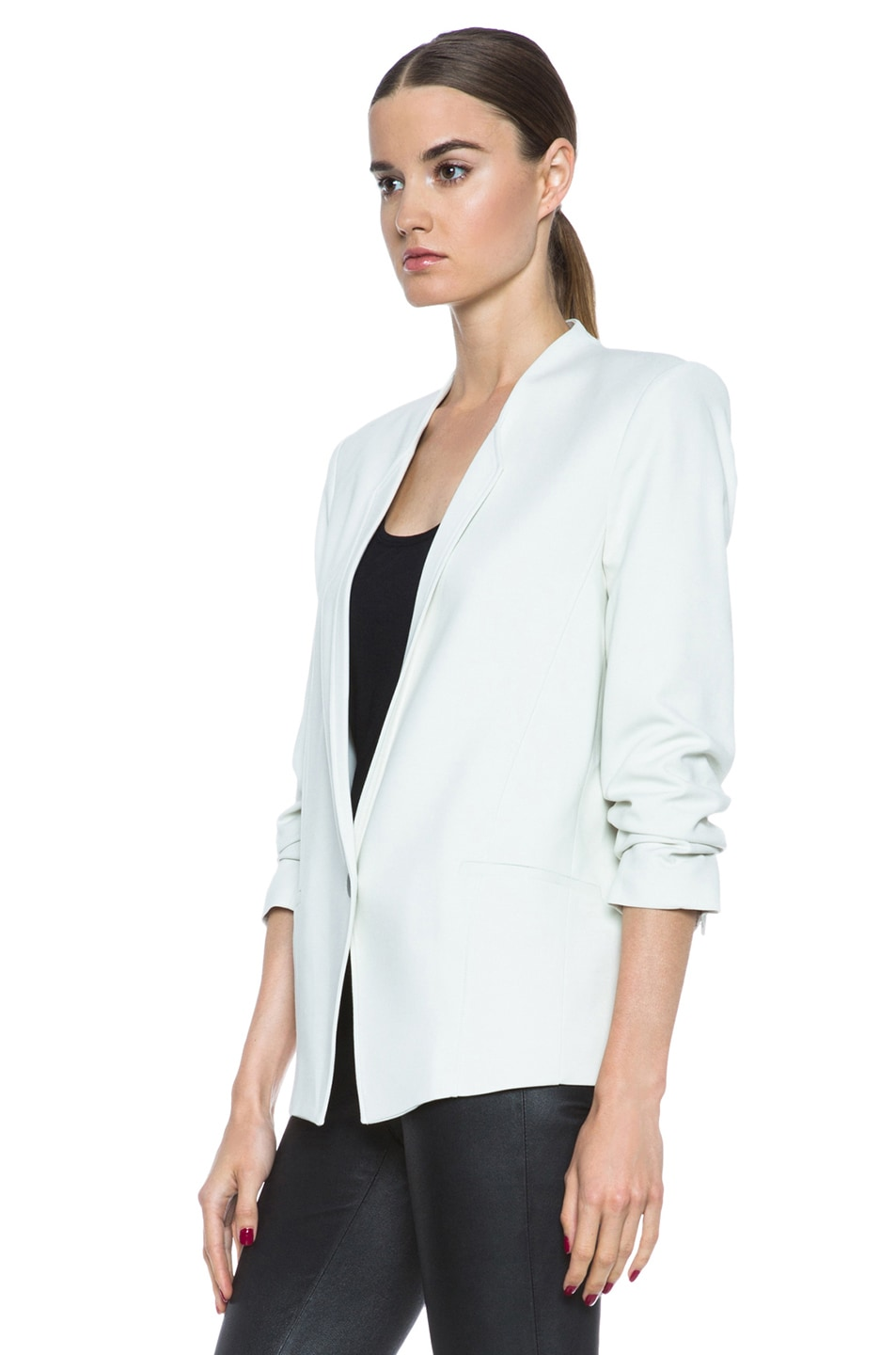 Image 3 of HELMUT Prime Suiting Scrunched Sleeve Viscose-Blend Blazer in Newsprint