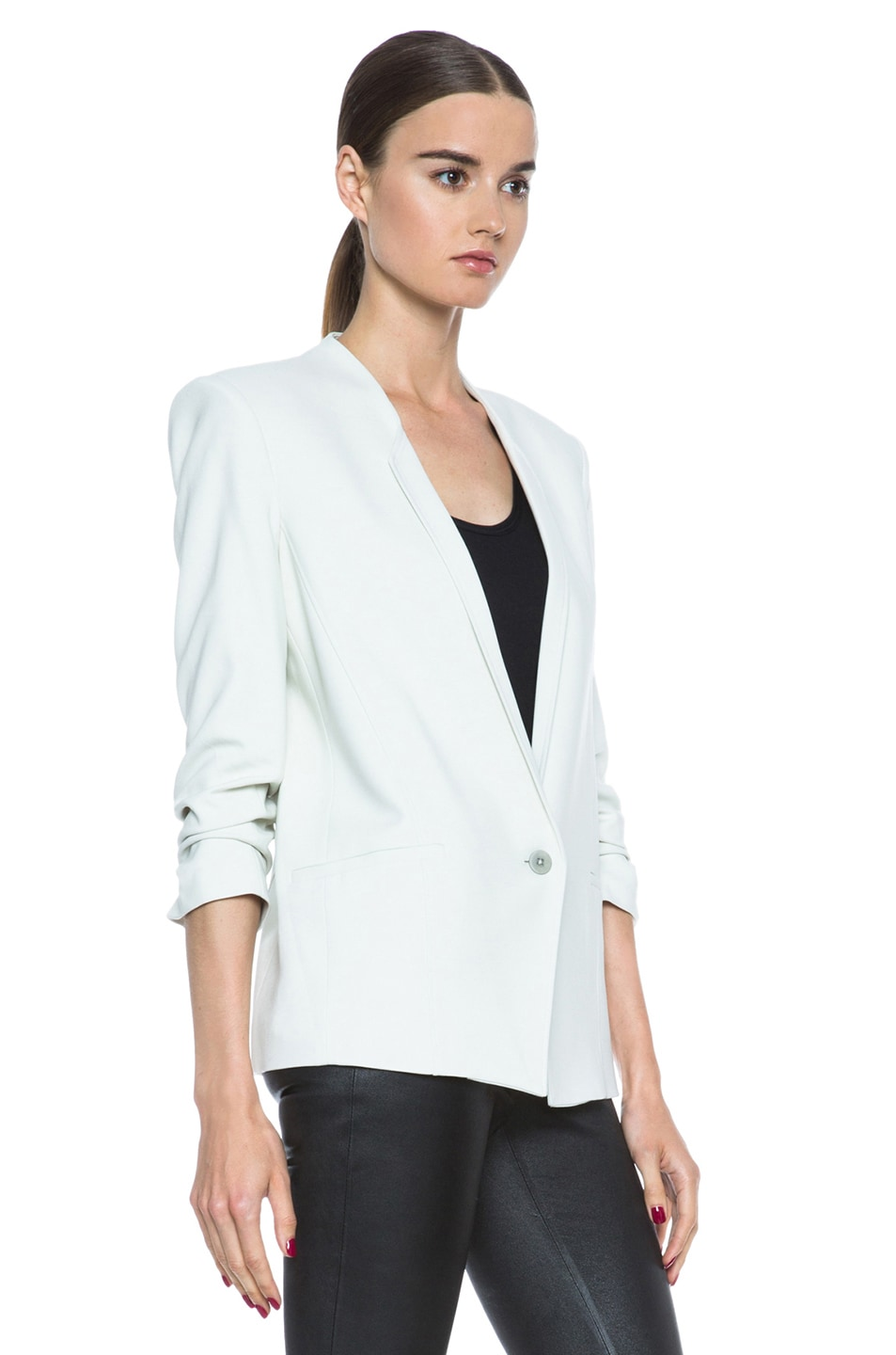Image 4 of HELMUT Prime Suiting Scrunched Sleeve Viscose-Blend Blazer in Newsprint