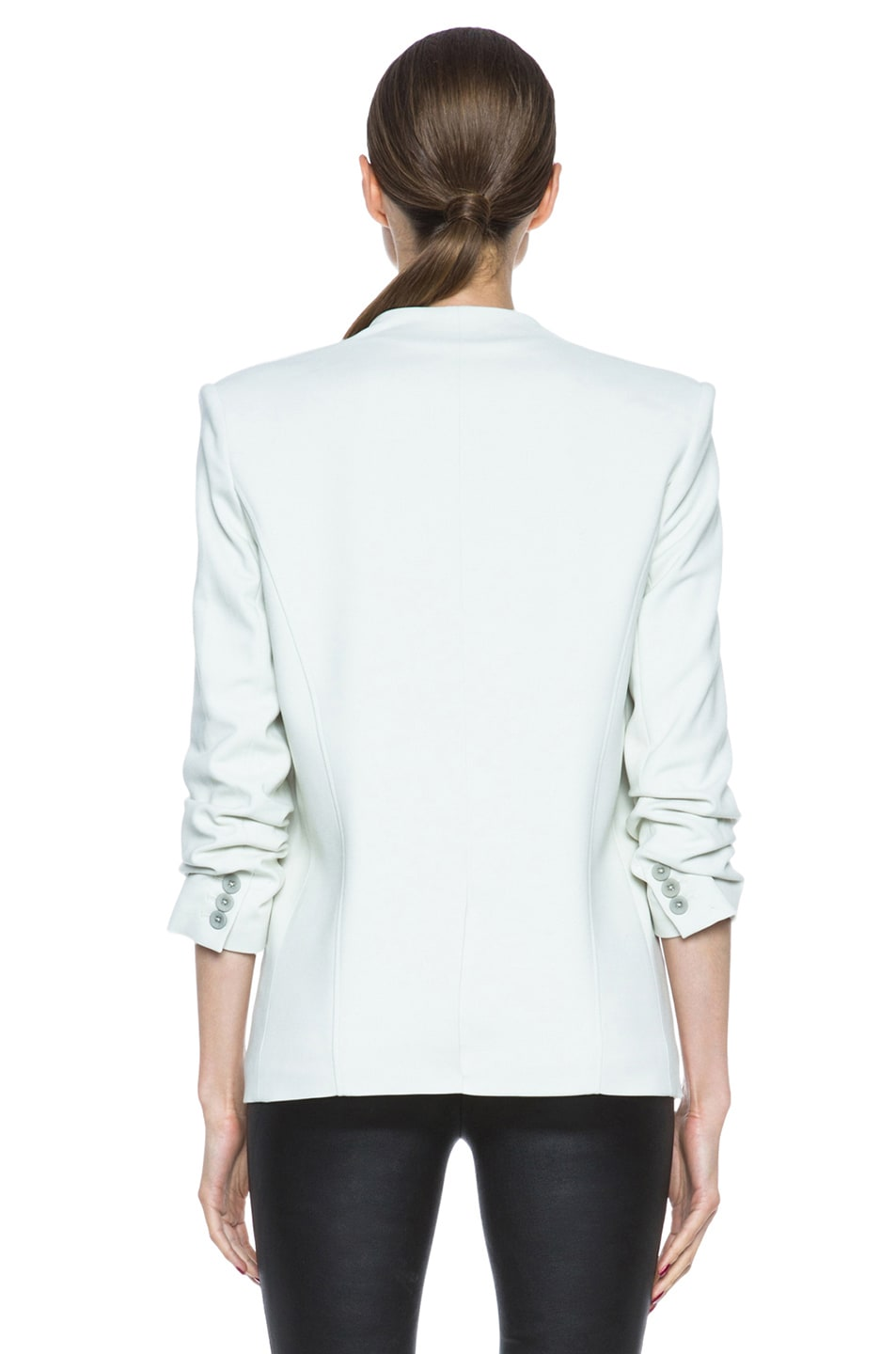 Image 5 of HELMUT Prime Suiting Scrunched Sleeve Viscose-Blend Blazer in Newsprint